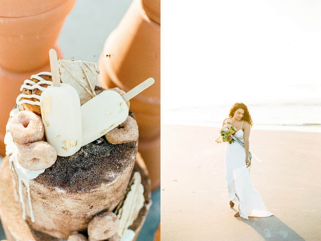 churro cake details for boho styled shoot with ivory & beau on tybee island, ga