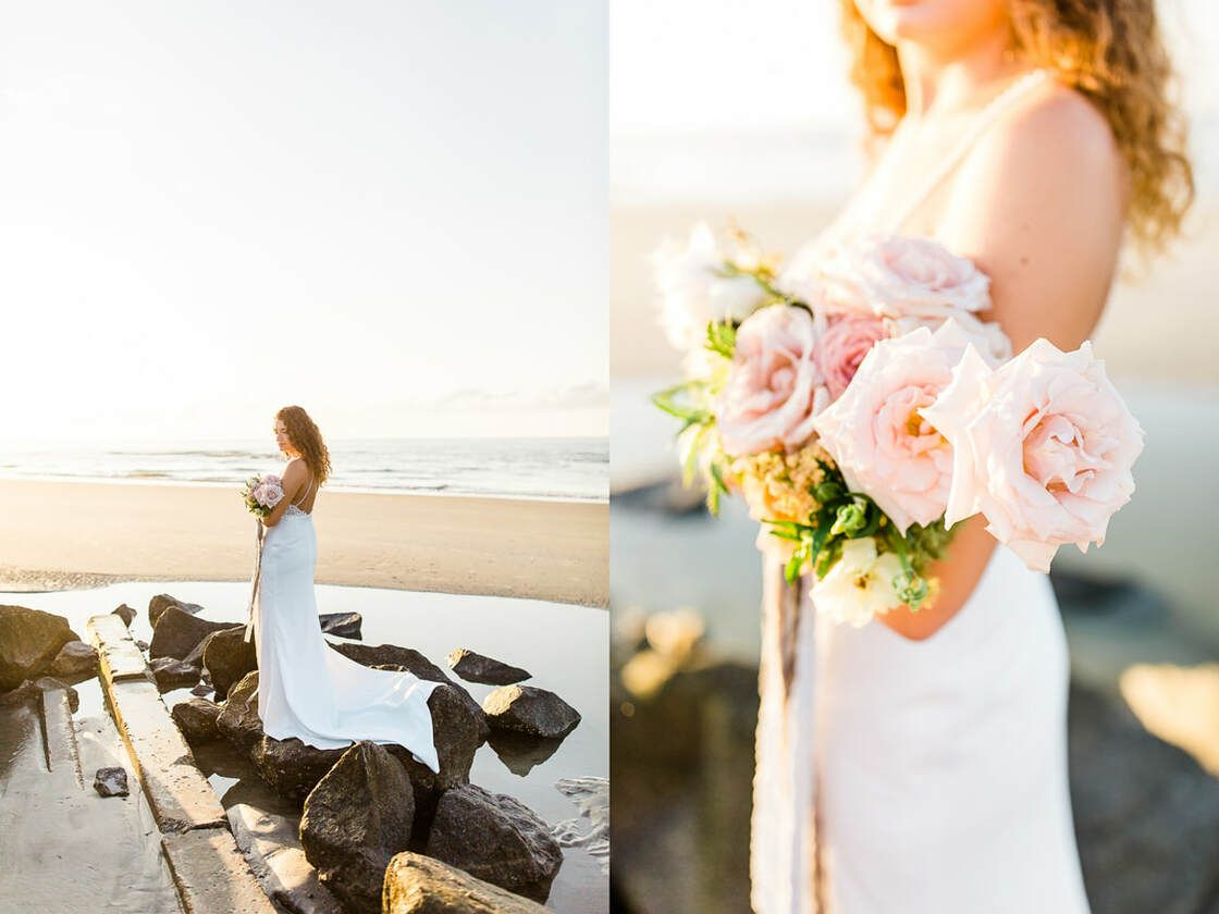 sunrise bridal session with ivory & beau on south beach tybee island, ga