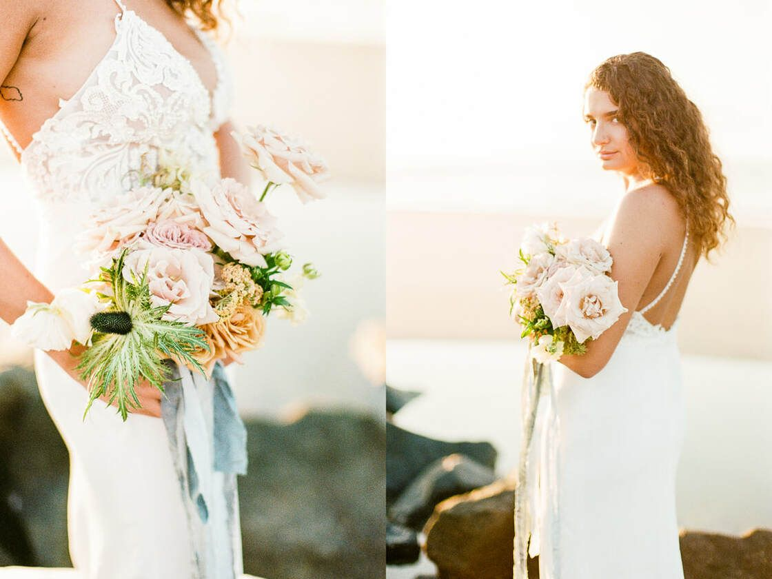 lovely sunrise session for boho styled shoot with ivory & beau on tybee island, ga