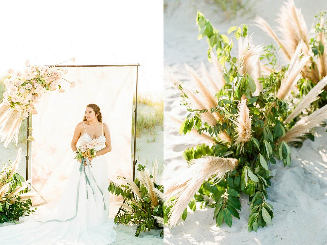 bridal and floral details for boho styled shoot with ivory & beau on tybee island, ga