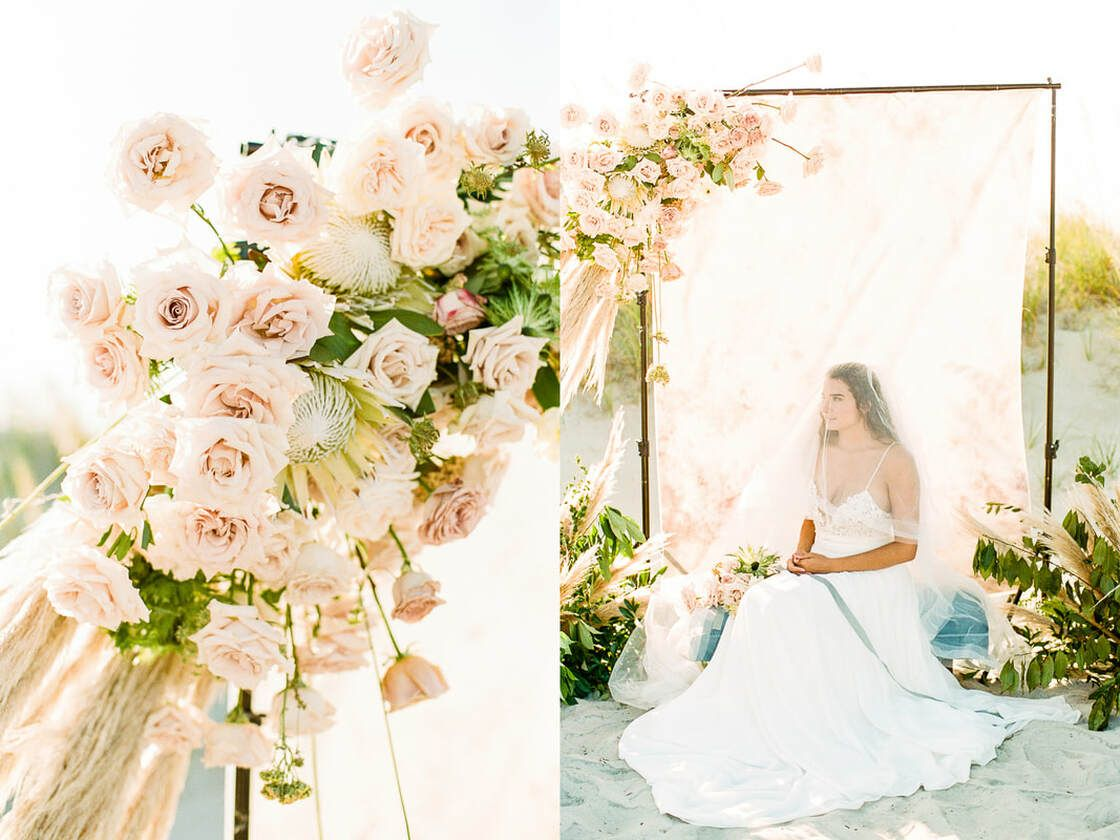 beautiful beachside blooms for a flowy boho styled shoot with ivory & beau on tybee island