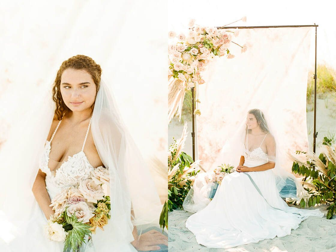 bridal session for boho styled shoot with ivory & beau on tybee island, ga