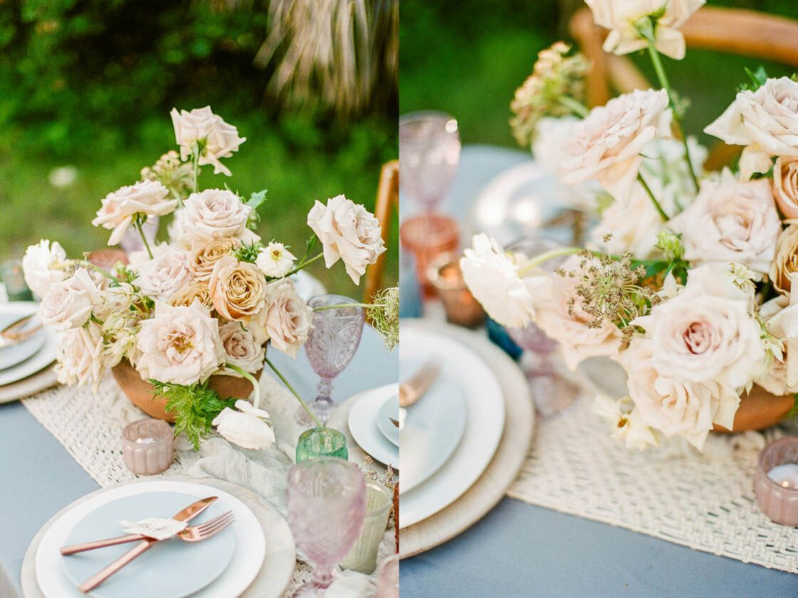 table floral details for boho styled shoot with ivory & beau on tybee island, ga