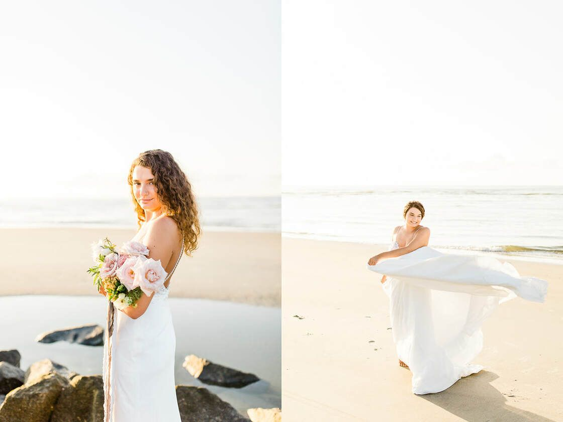 bridal spinning on beach for boho styled shoot with ivory & beau on tybee island, ga