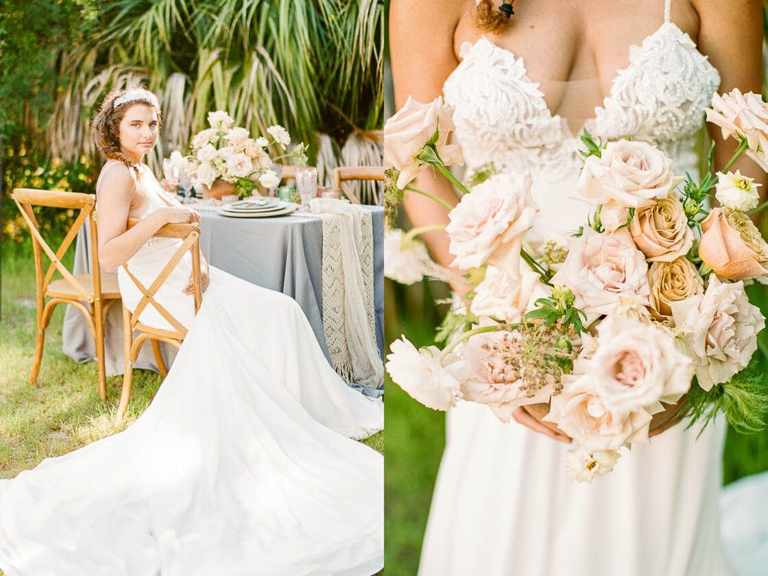 lovely floral details for boho styled shoot with ivory & beau on tybee island, ga