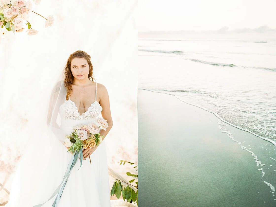 beach and bride details