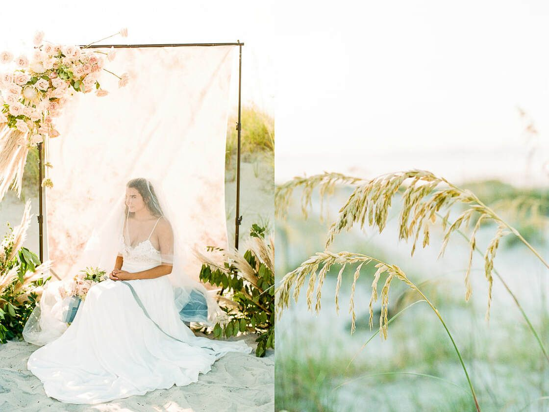 lovely bridal details for boho styled shoot with ivory & beau on tybee island, ga