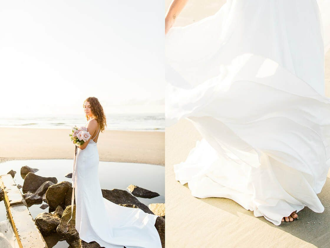 flowy dress blowing in the wind beautiful beachside blooms for a flowy boho styled shoot with ivory & beau on tybee
