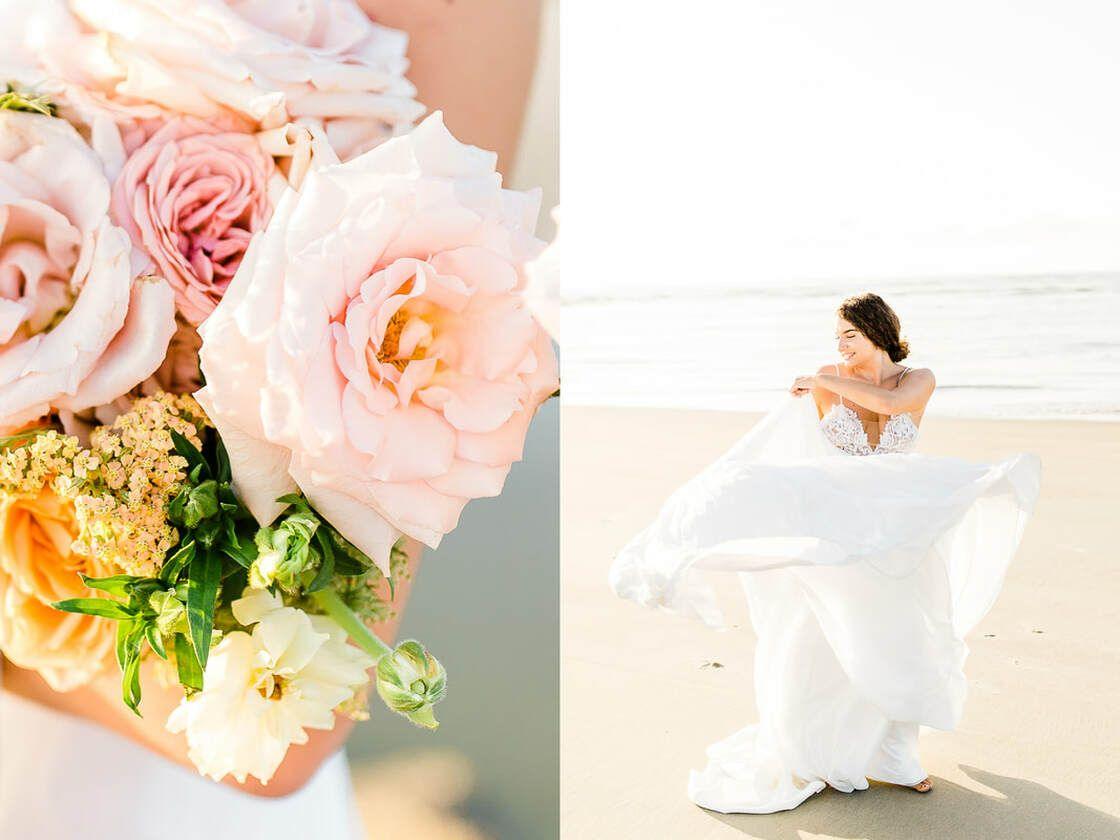 bridal details flowy dress for boho styled shoot with ivory & beau on tybee island, ga