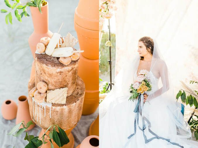 cake and bridal details for boho styled shoot with ivory & beau on tybee island, ga
