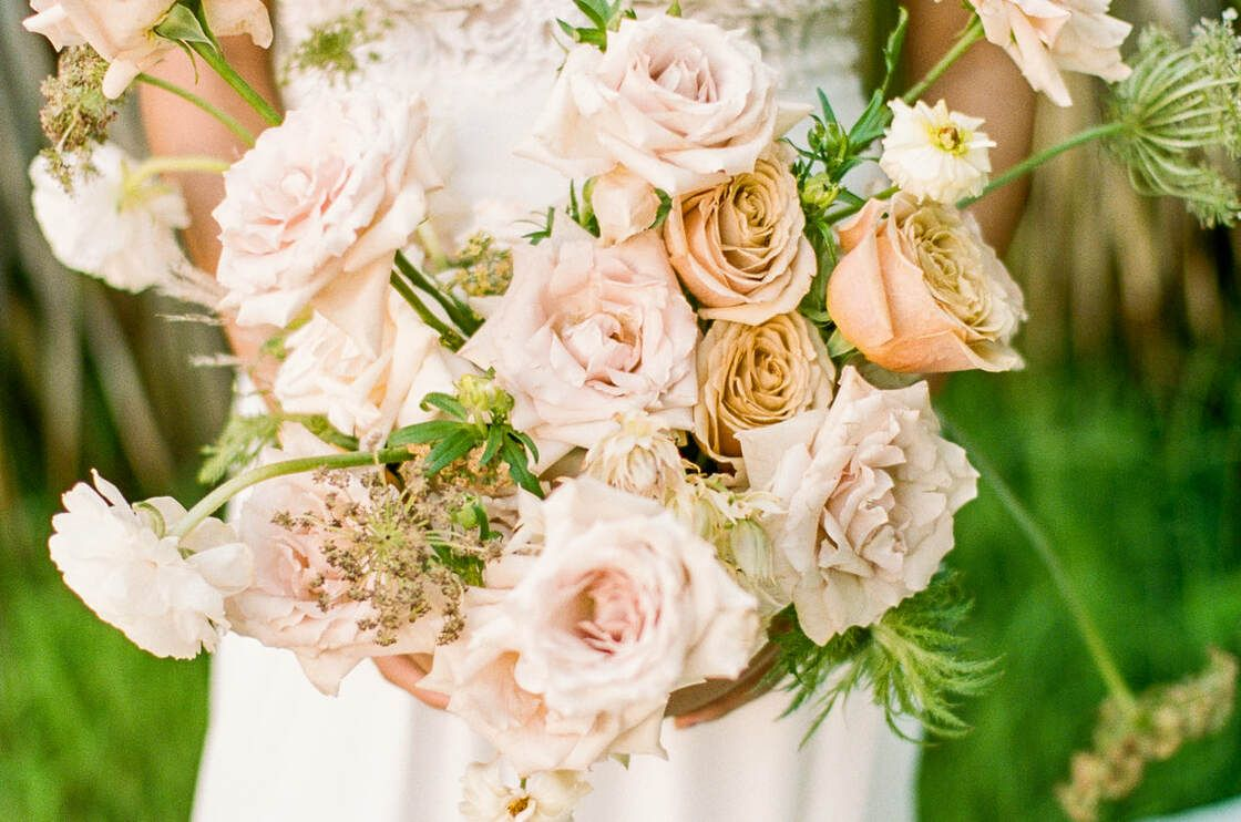 bridal bouquet for boho styled shoot with ivory & beau on tybee island, ga