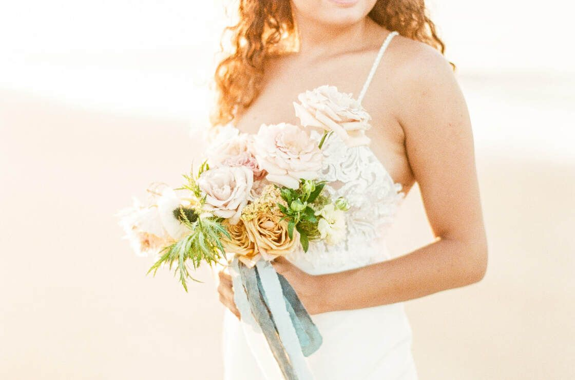 bridal bouquet beautiful beachside blooms for a flowy boho styled shoot with ivory & beau on tybee island