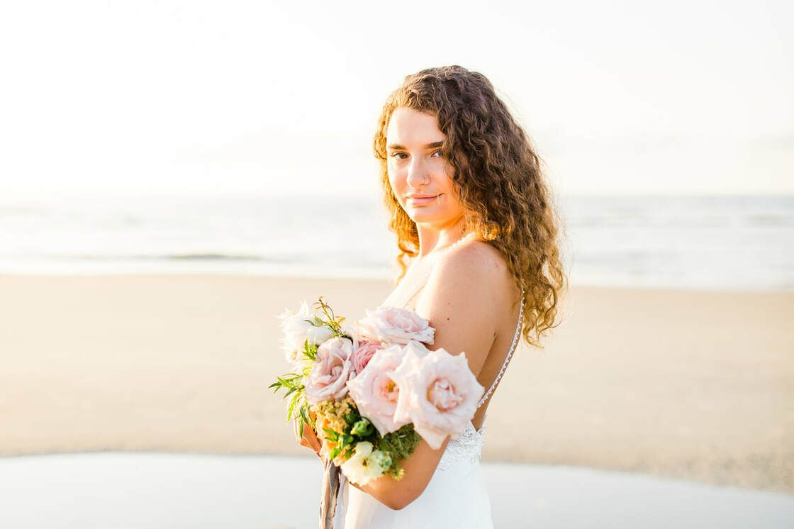 bride portraits for boho styled shoot with ivory & beau on tybee island, ga