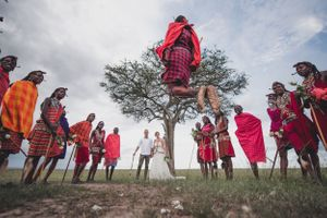 Masai moran jumping for the newly married couple