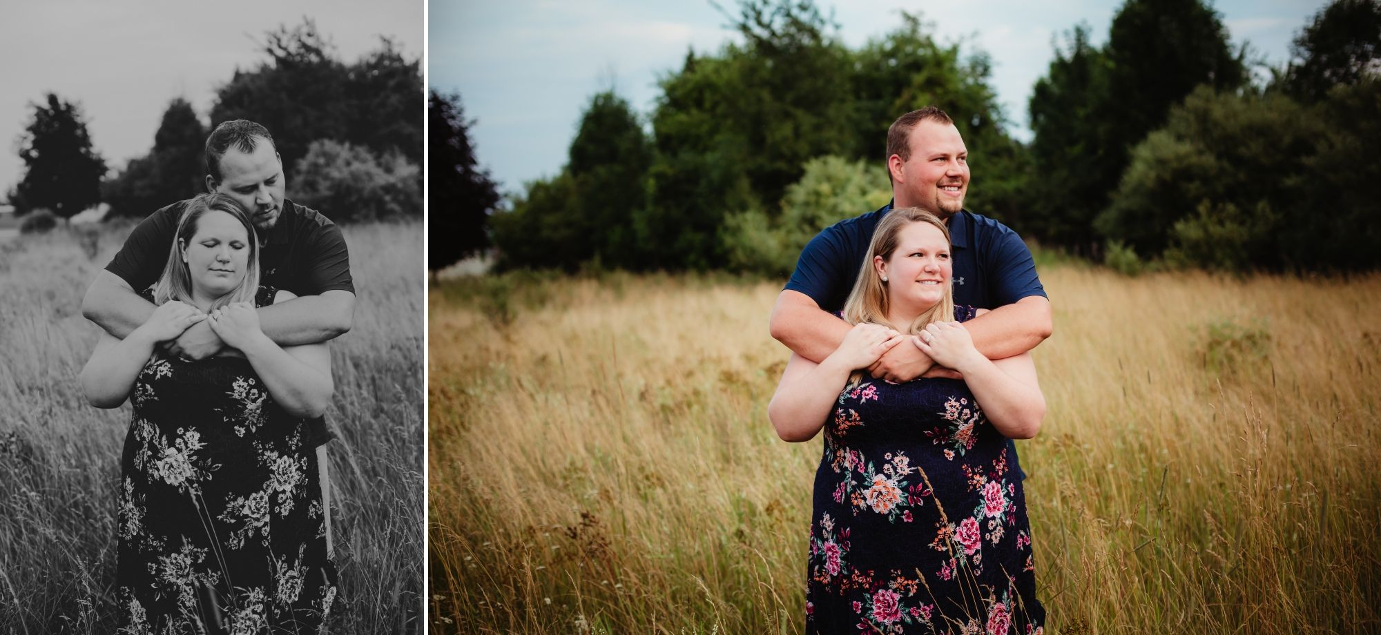 Photos of engaged couple closing their eyes embracing and then smiling to the right.