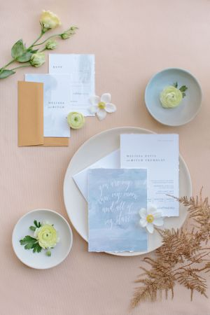 watercolour paper invitations with hand torn edges