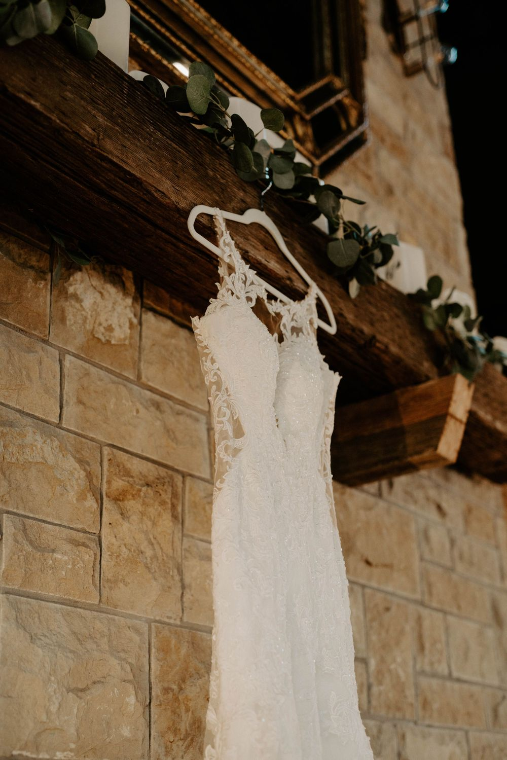 Wedding dress picture inside venue at The Reserve at Ranger Creek Ranch in Seymour, Texas