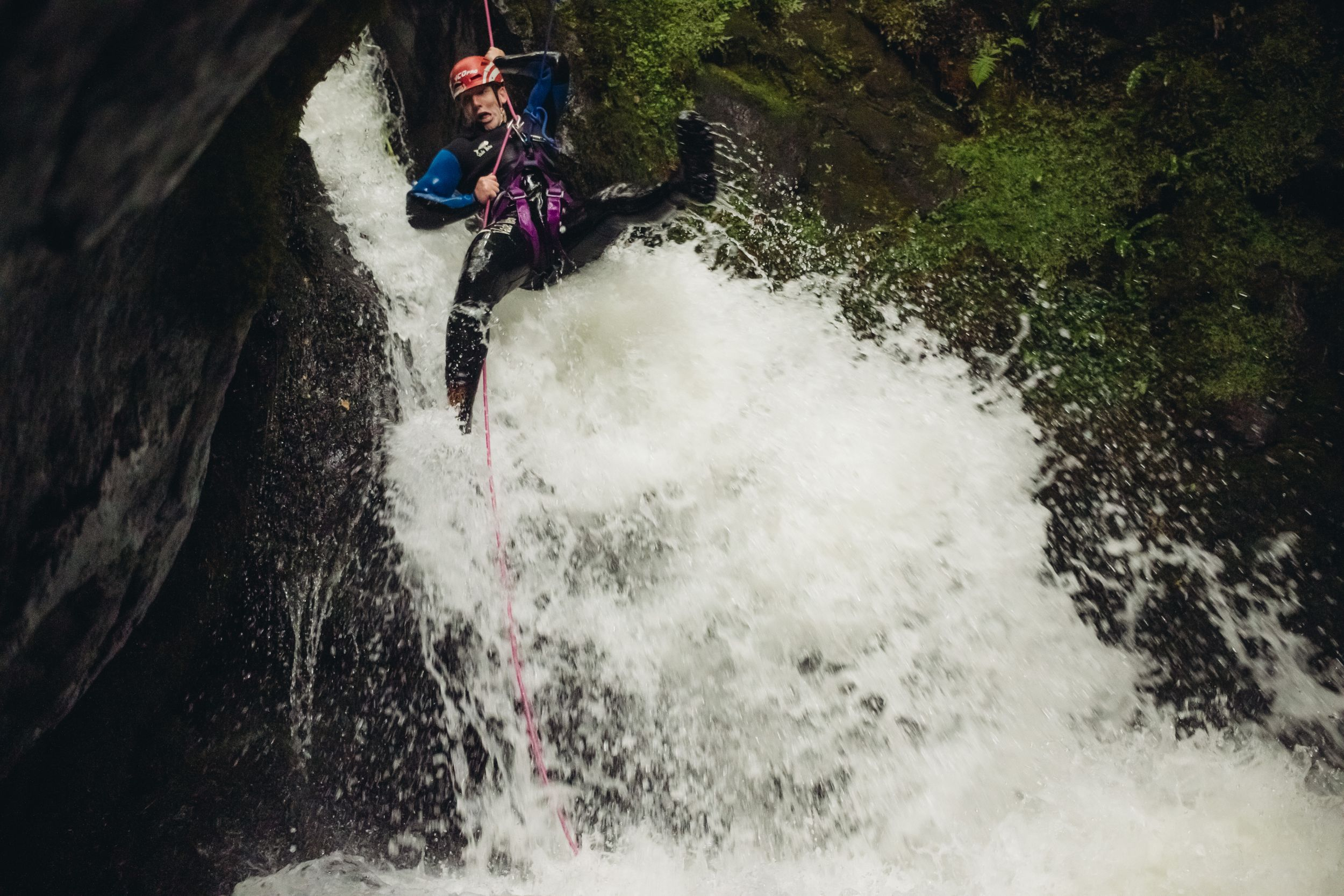 waterfall abseil canyoning dollar glen scotland photography
