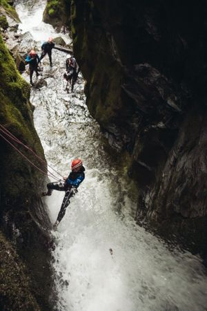 abseil waterfall dollar glen canyoning scotland