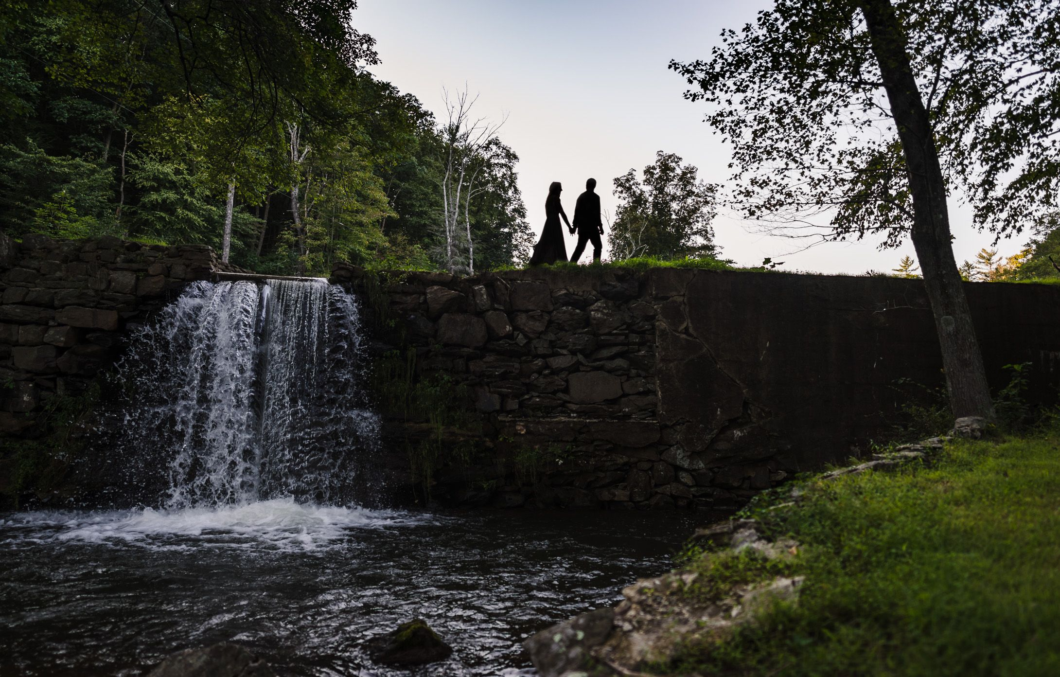 Poconos and Lehigh Valley Wedding Photographer Backyard Wedding and Engagement Waterfall and Covered Bridge