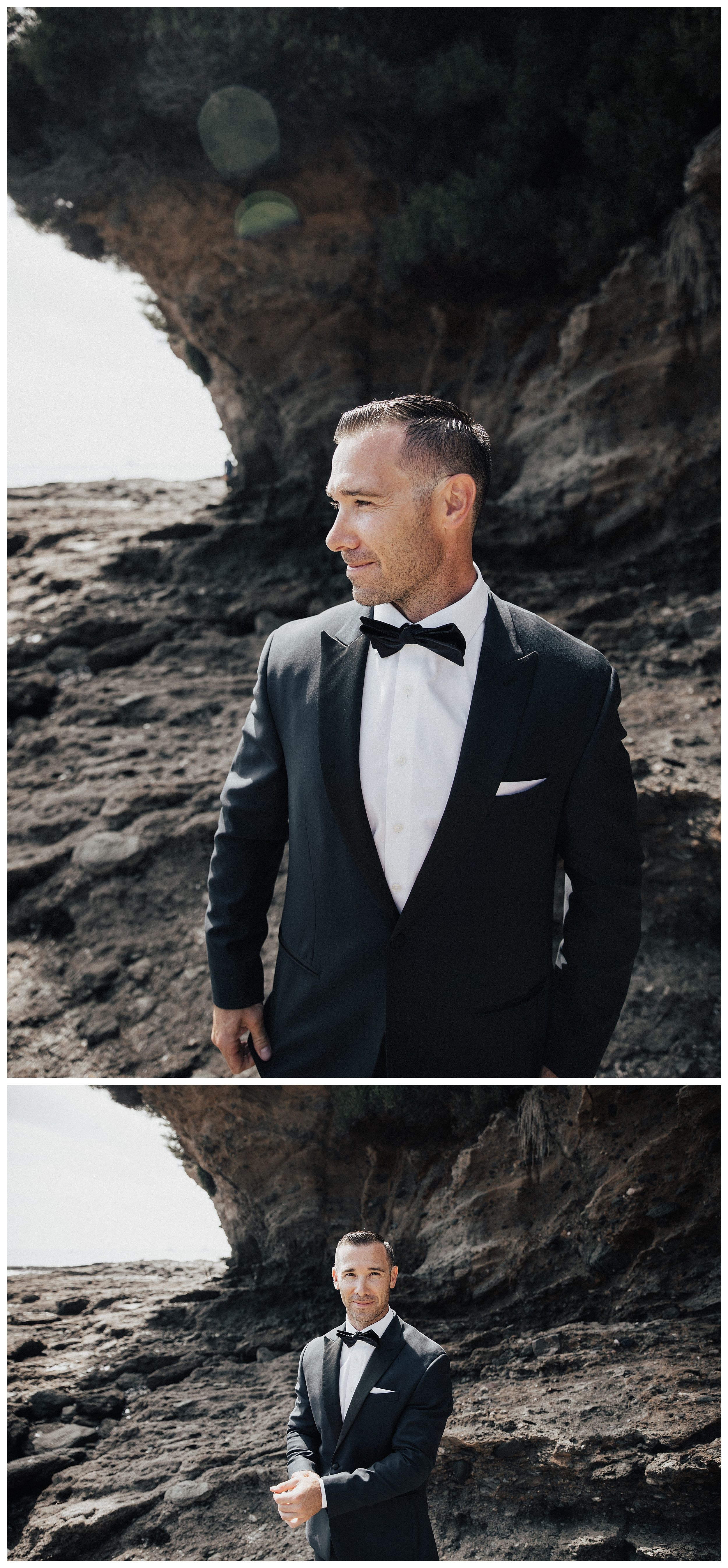 groom on beach, groom style, groom with bowtie