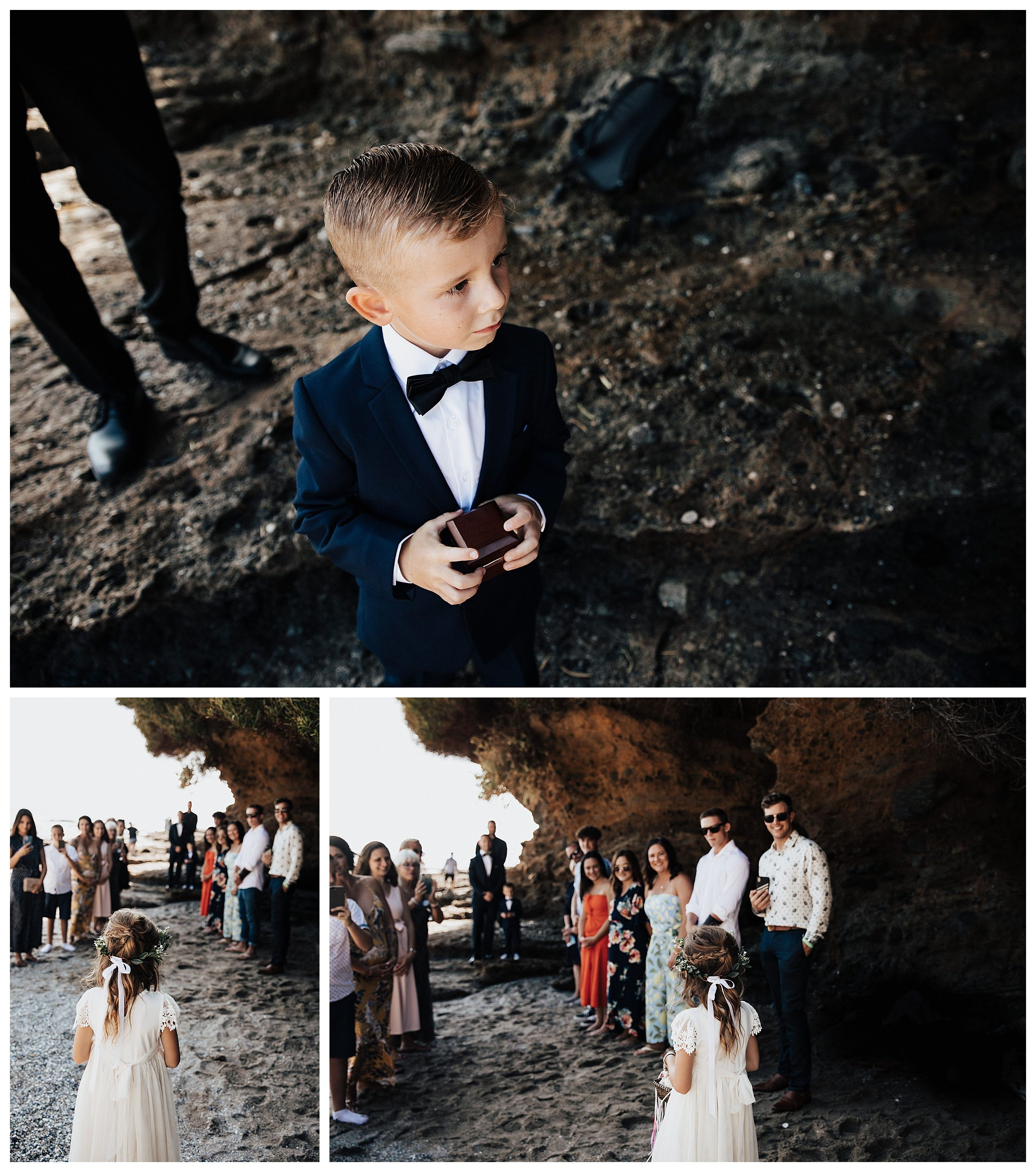 ring bearer, beach elopement ceremony, elopement on the beach
