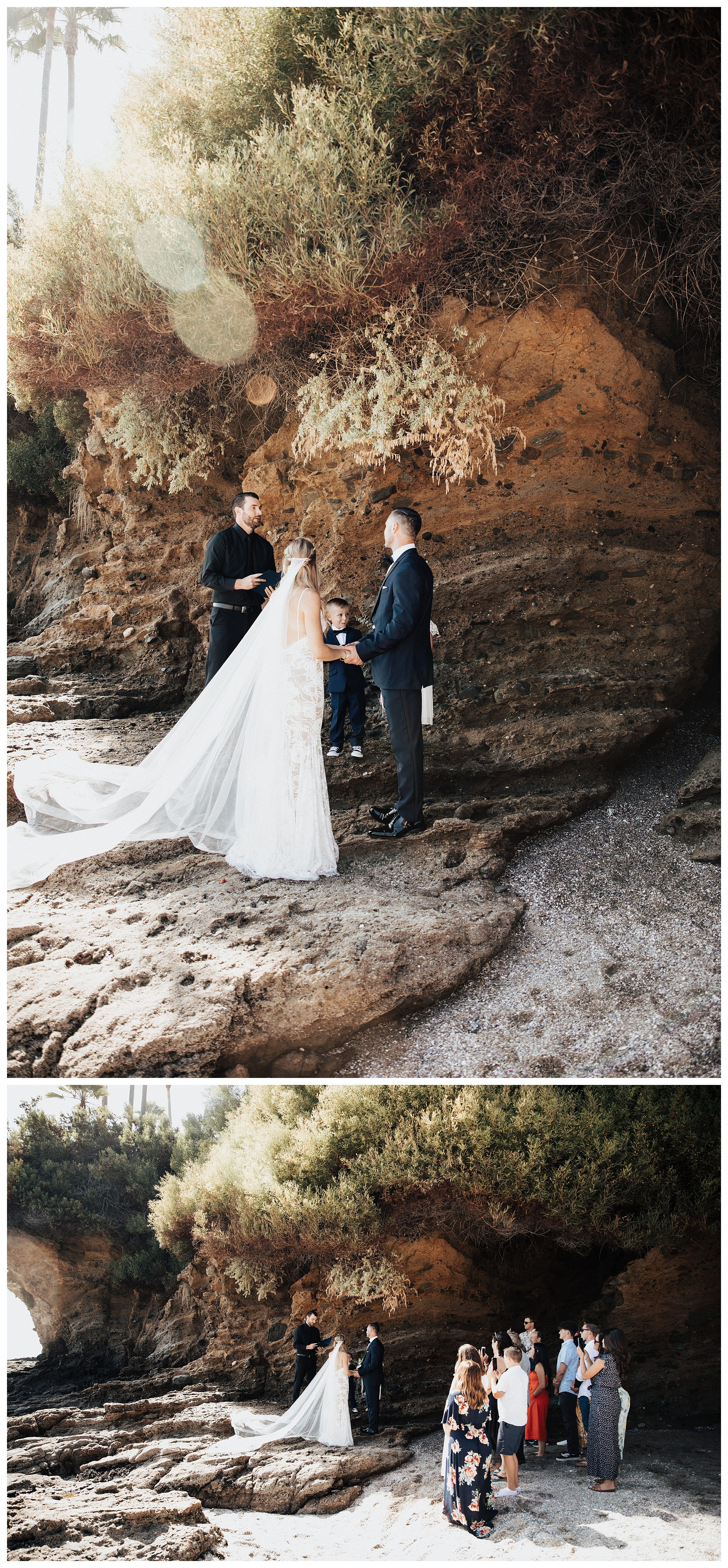 beach wedding ceremony, beach elopement ceremony, beach wedding near caves
