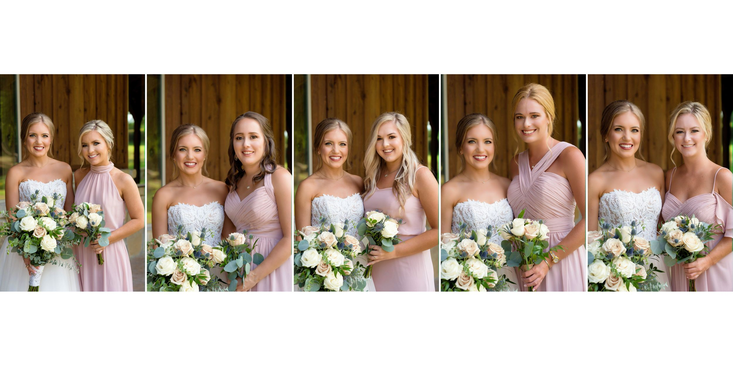 bride and bridesmaids posing for wedding in blush dresses texas wedding