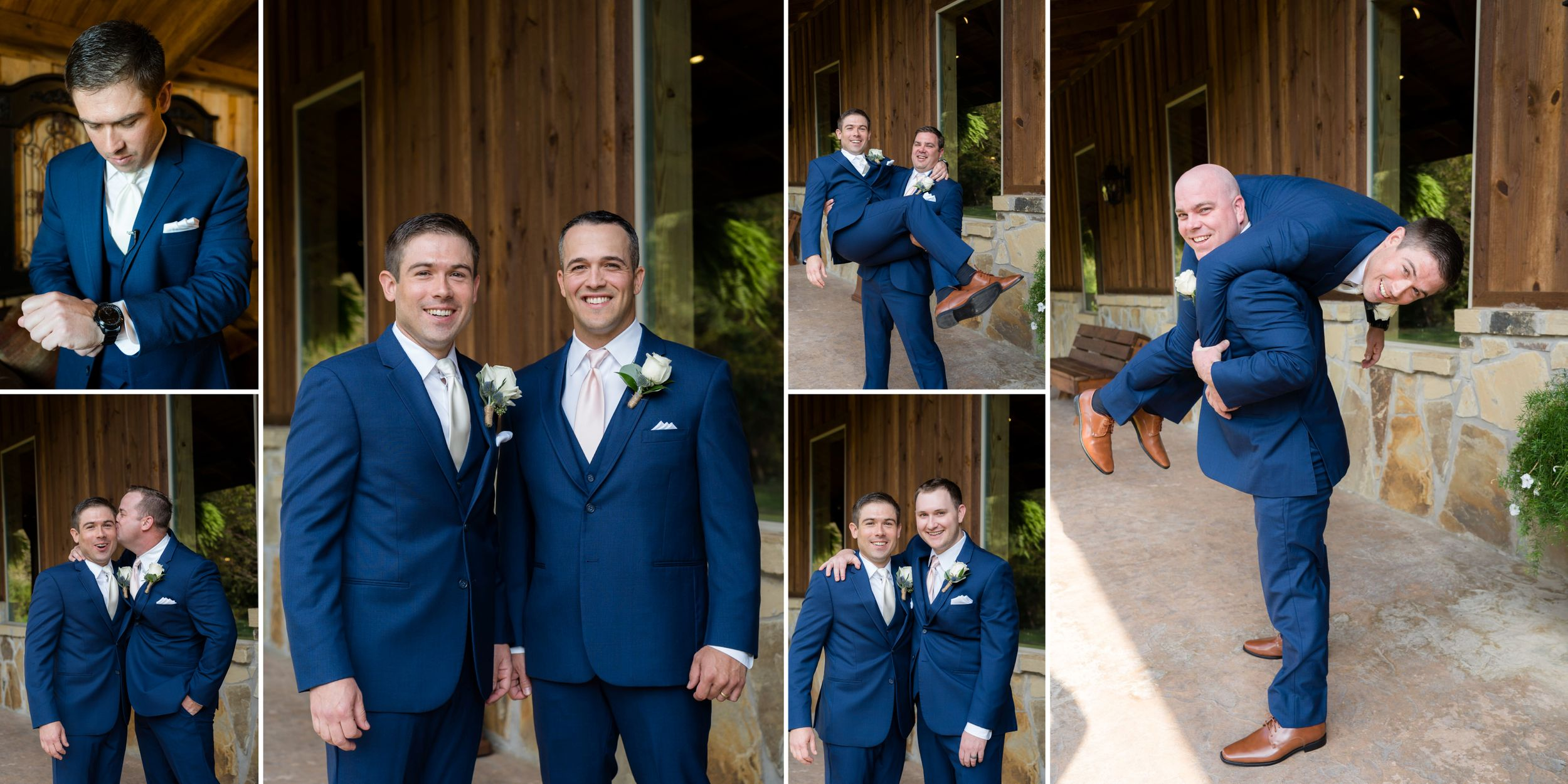 groom and groomsmen photos and wearing navy suits texas wedding