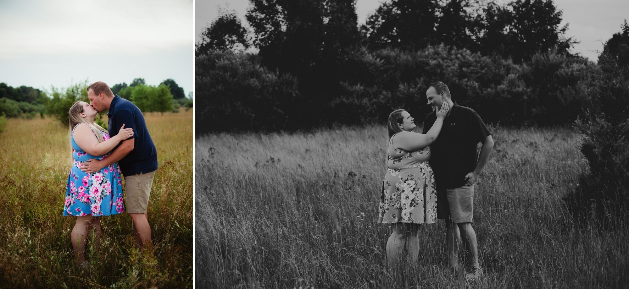 Photos of an engaged couple standing in a field kissing then the woman touching the man's face.