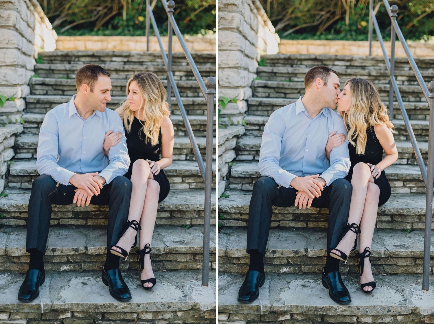 engaged couple sitting on stairs
