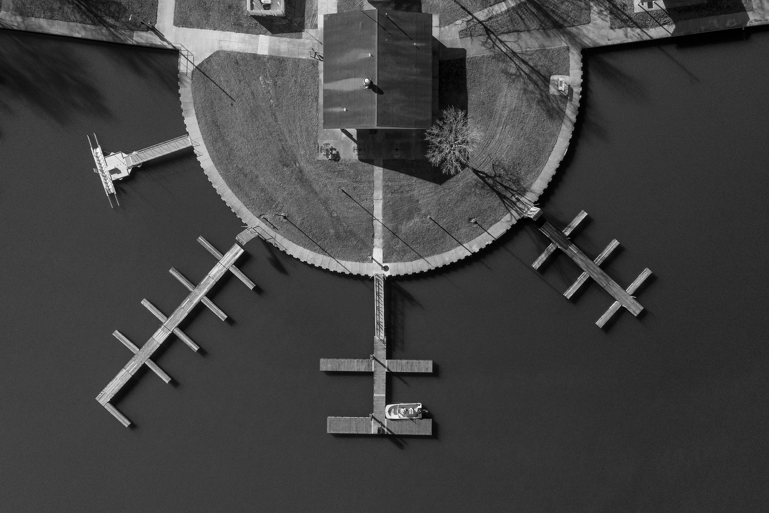 Aerial Drone photo of docks at State Park