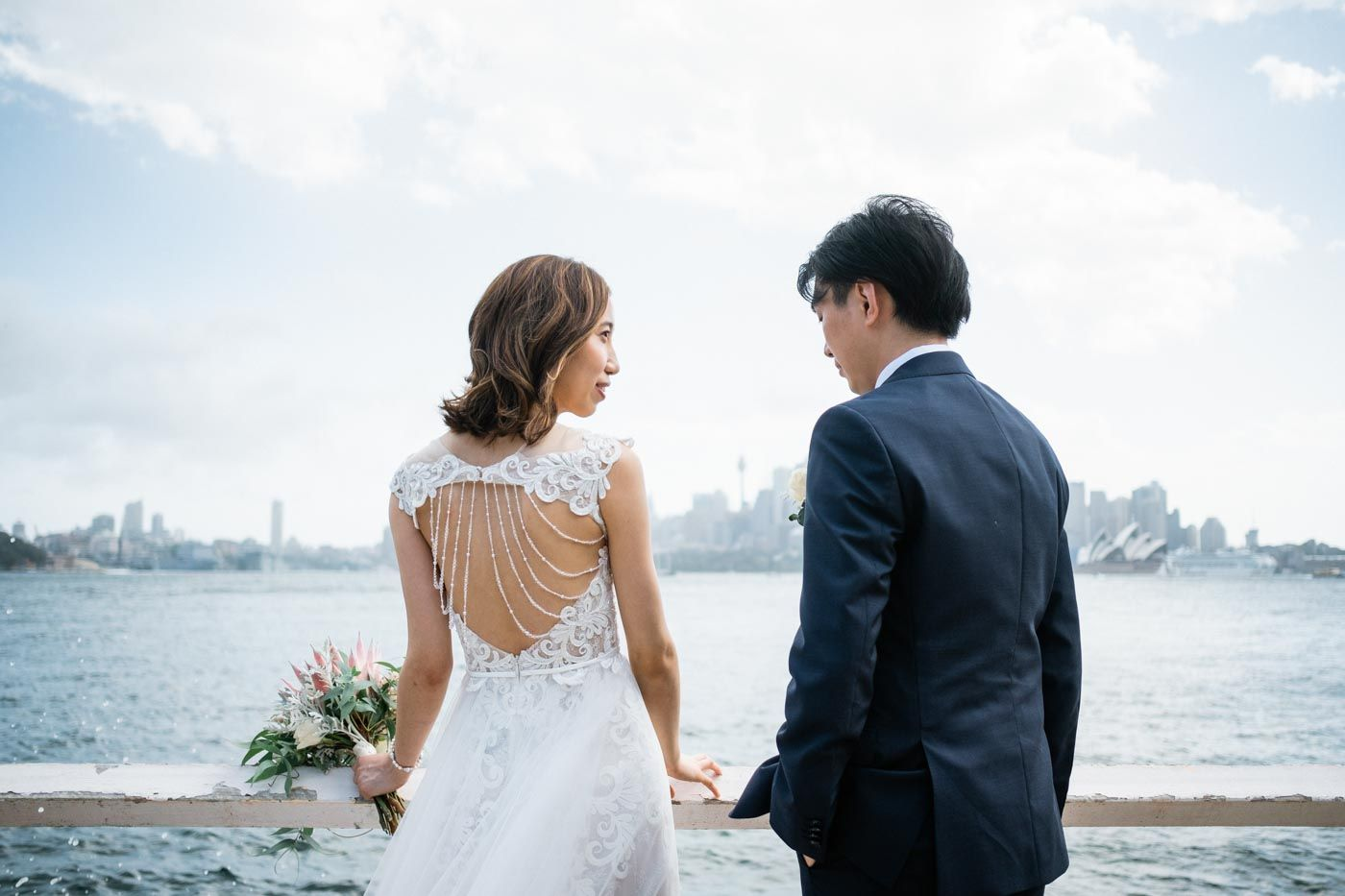 Elopement Bride and Groom with each other by Sydney Harbour
