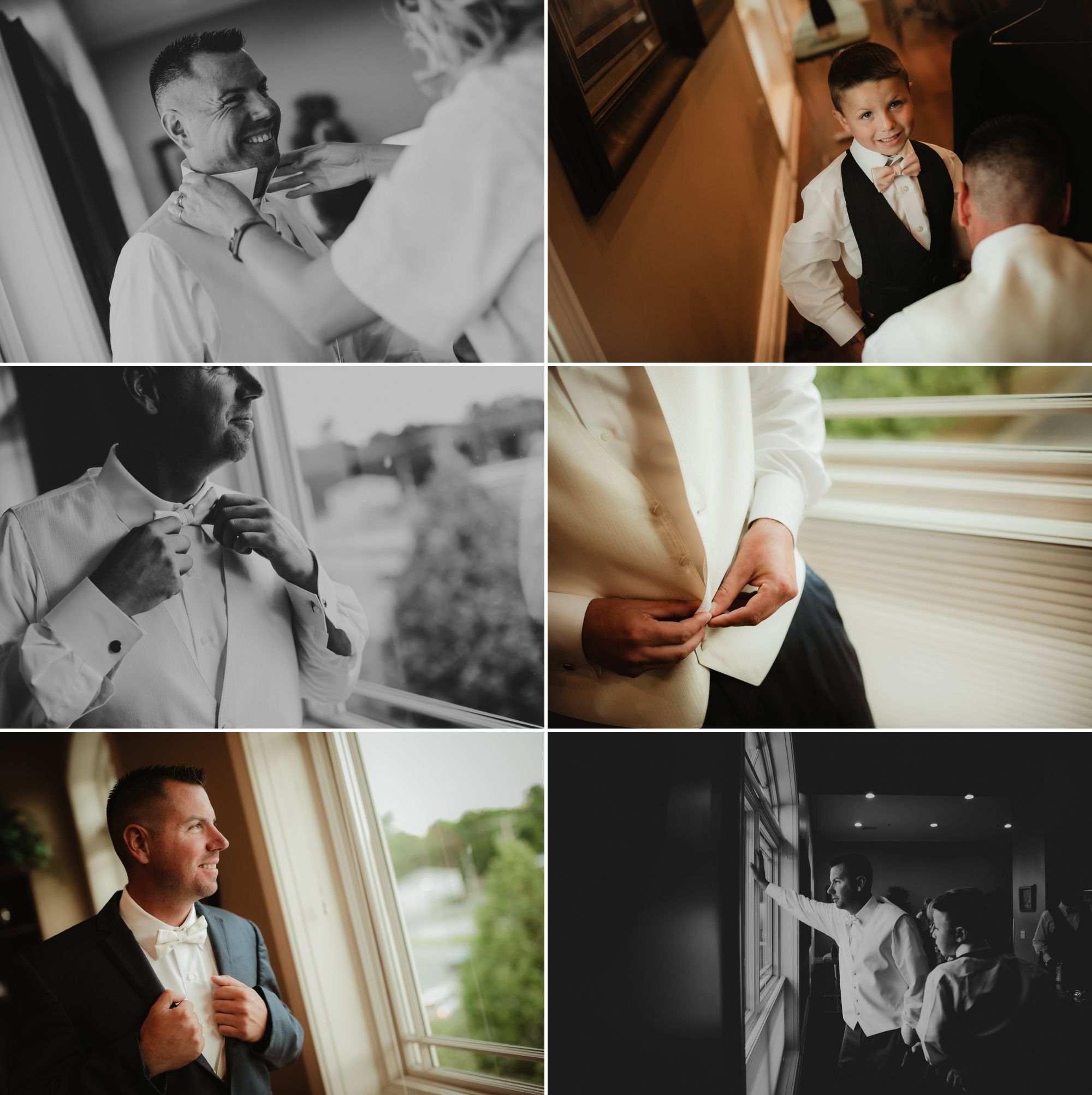 Photos of the groom and ring bearer getting ready.