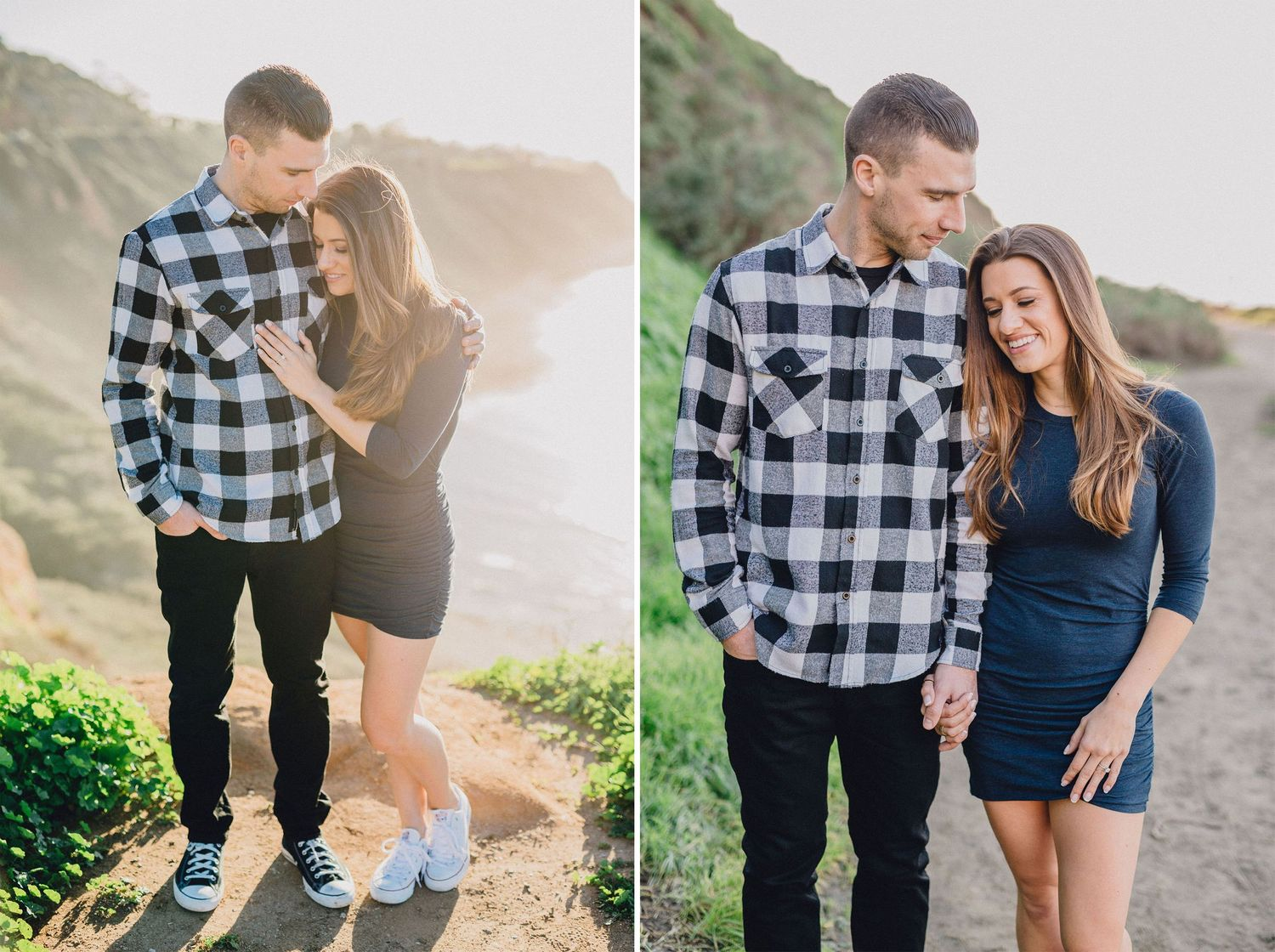 beach and cliff views engagement photo