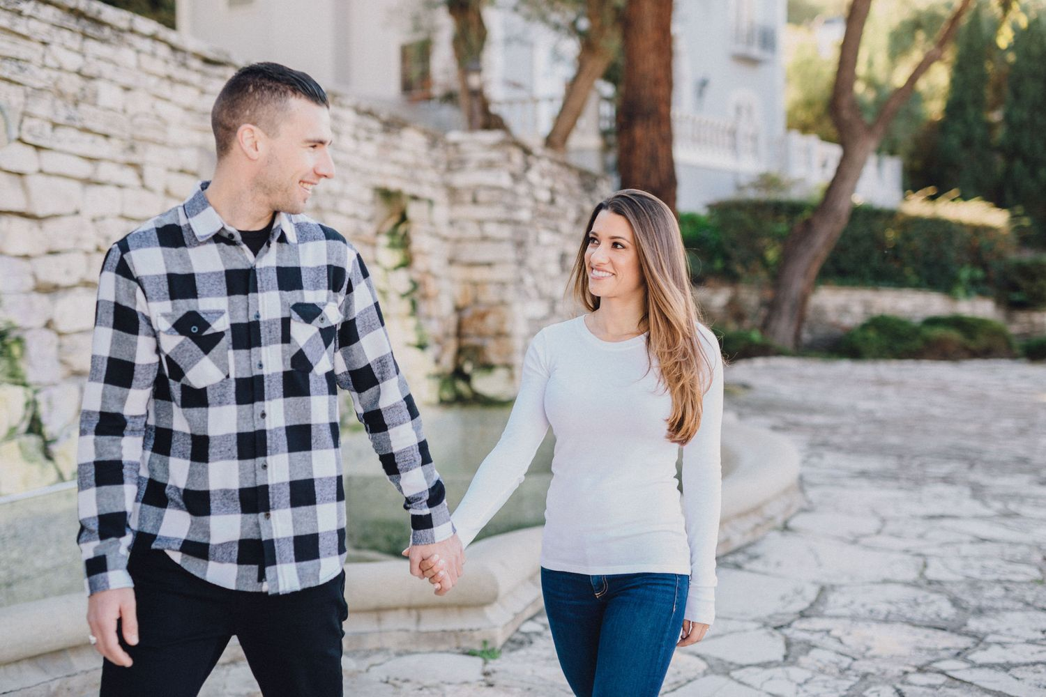 couple walking engagement photo