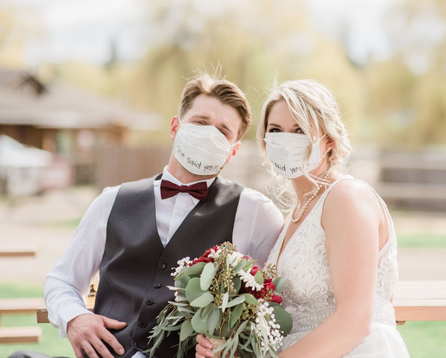 happy-couple-covid-wedding-wearing-masks-small-wedding