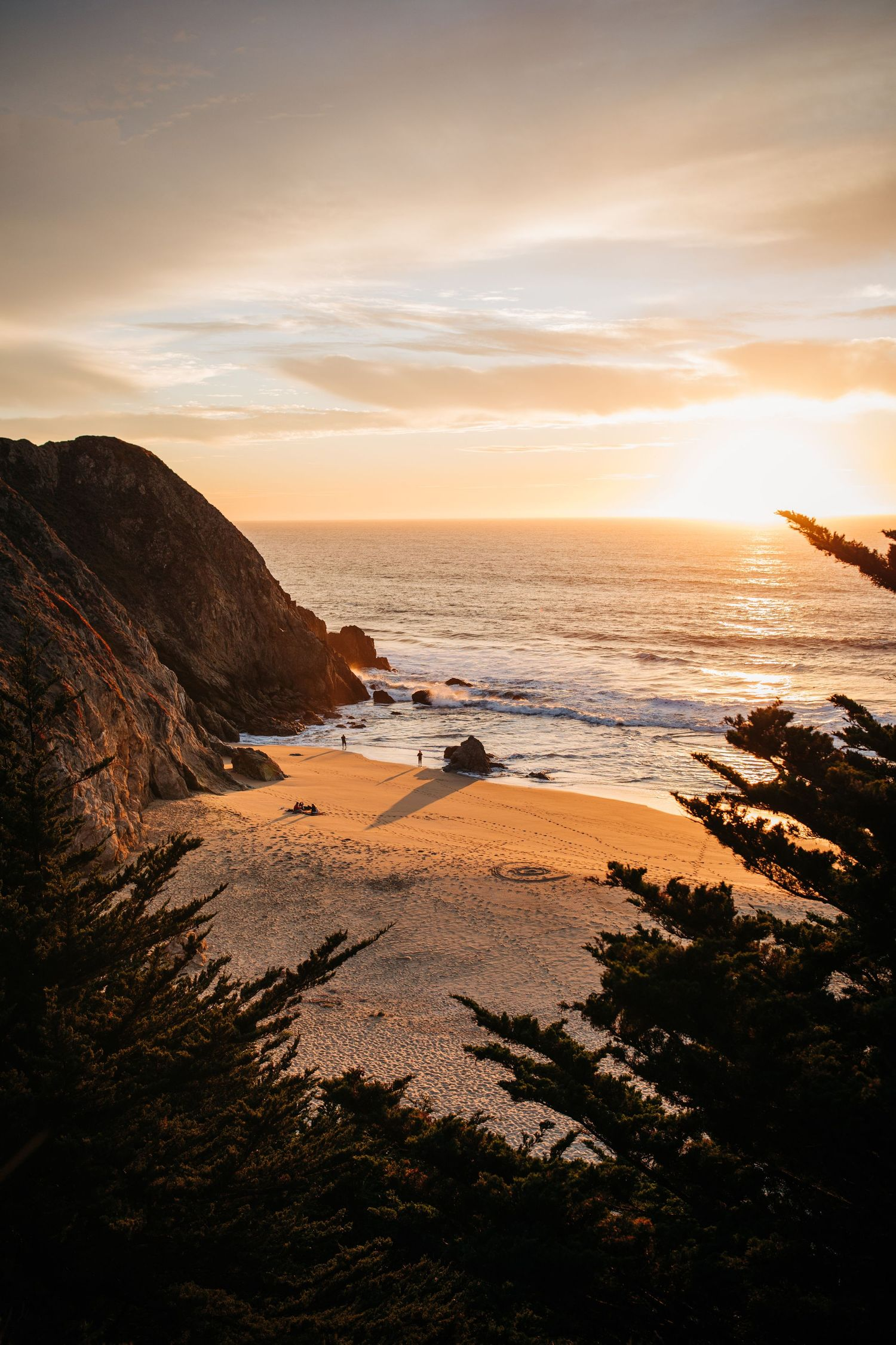 A view of sunset on a beautiful beach in Northern California.