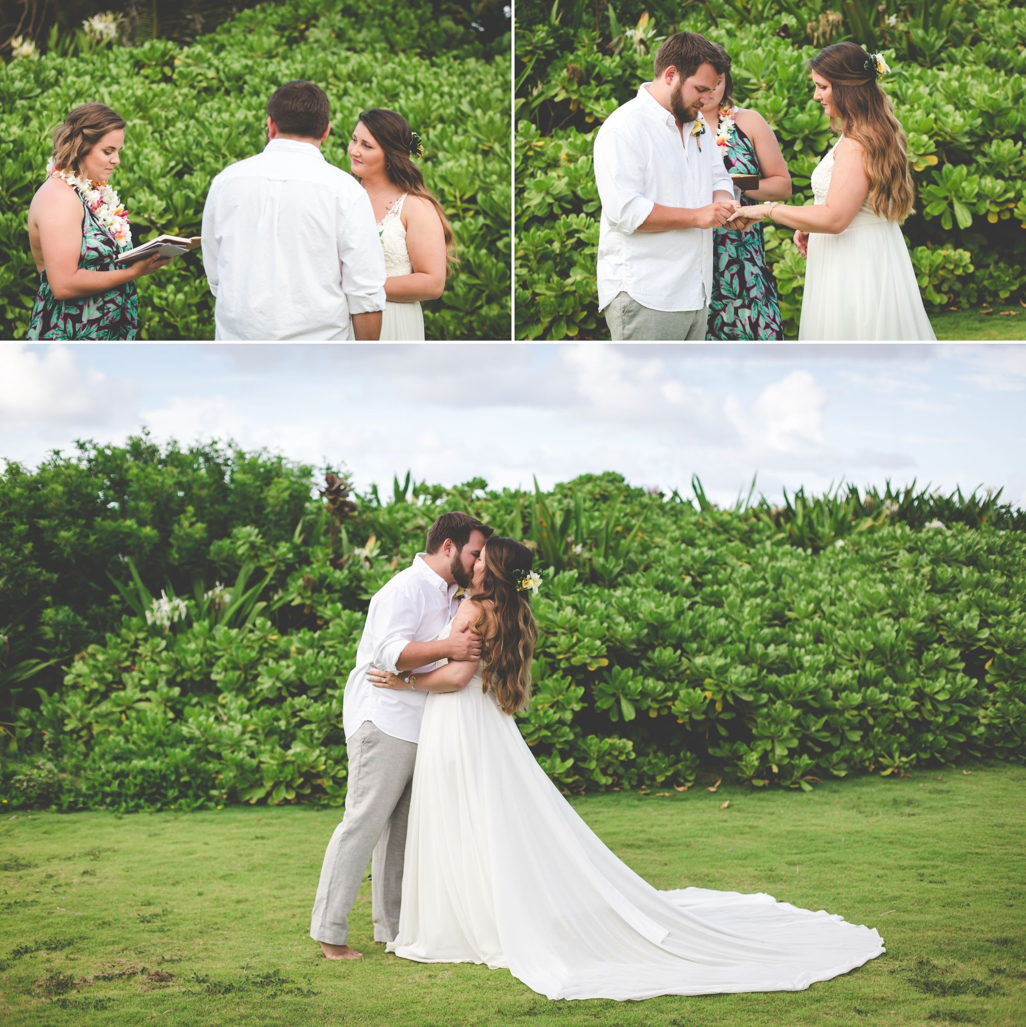 Photos of bride and groom exchanging vows, rings, and first kiss in front of green plants.
