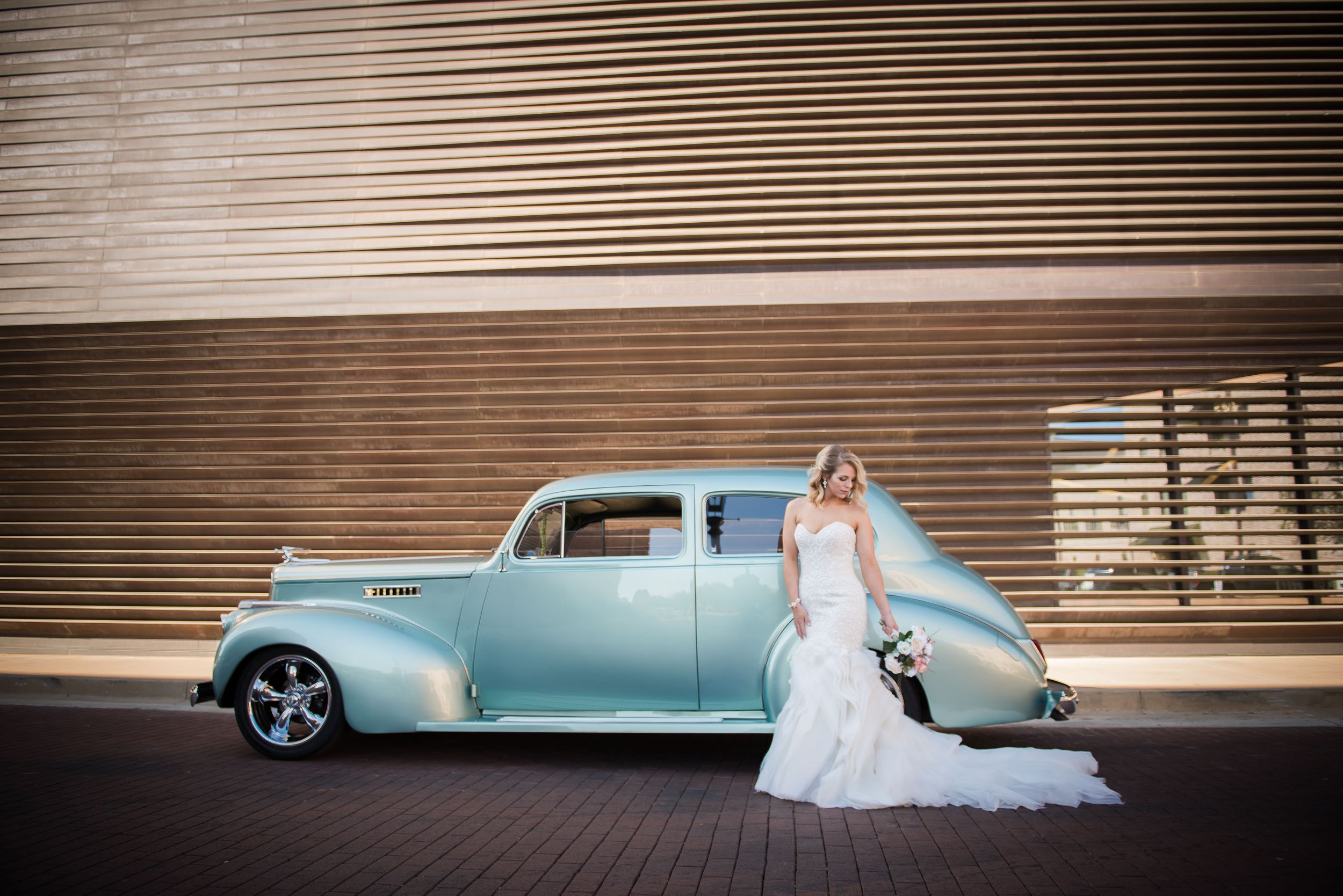 Bride, Bridals, Louisiana Bride, Southern Bride, Old Car, Vintage, Natchitoches, Downtown, White Dress, Blue Car