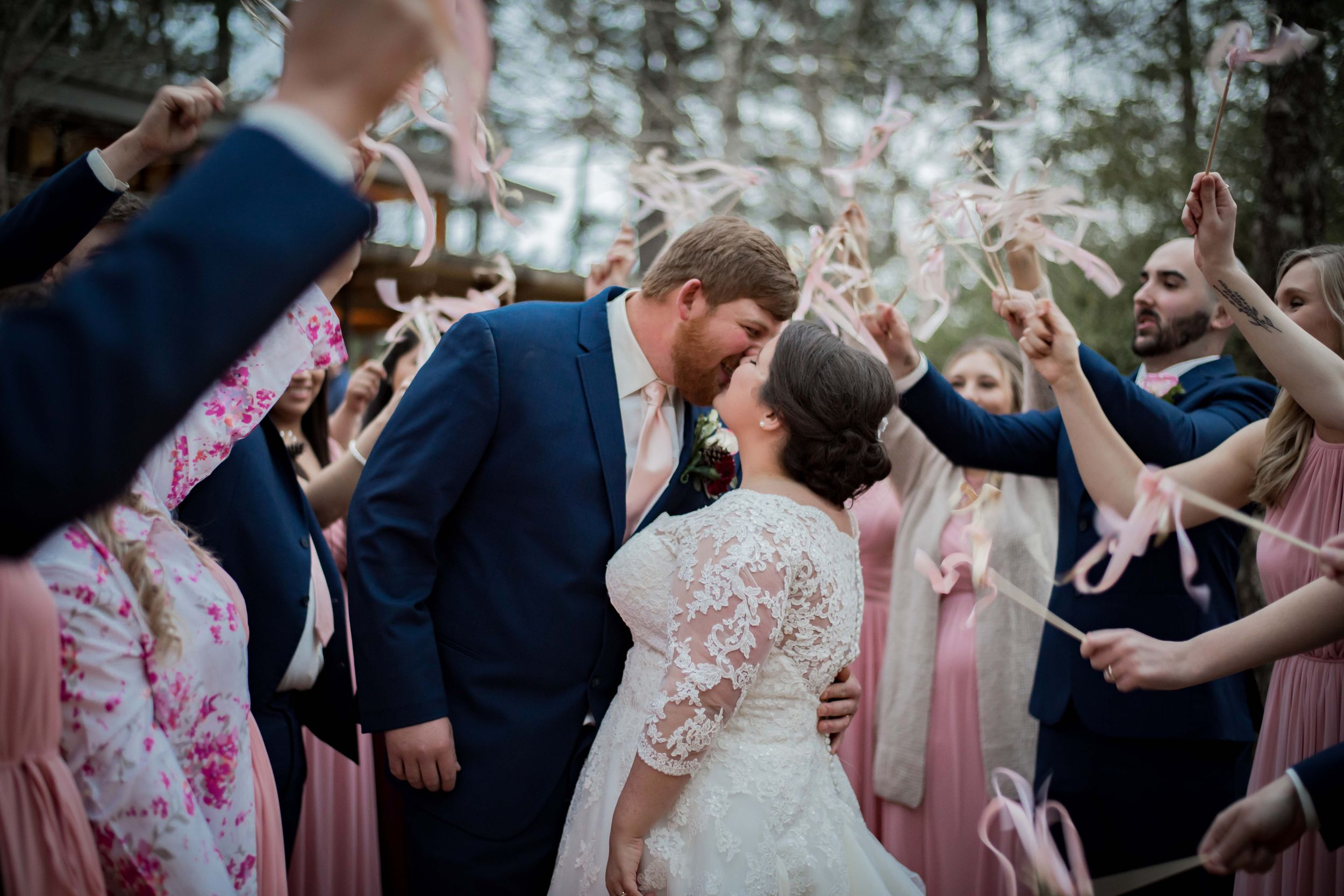 Wedding, Louisiana Wedding, Southern Wedding, Bride, Groom, Wedding Exit, Streamers, Bridal Party, Husband and Wife