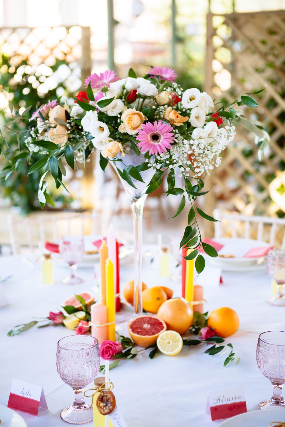 bright and bold Italian citrus wedding table setting inspiration for a wedding in Tuscany