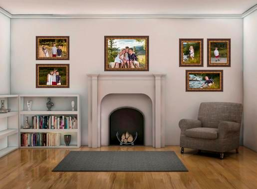 Family room with fireplace with a collection of framed wall portraits on the main wall