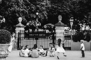 Children at a wedding playing outside at 131cheltenham