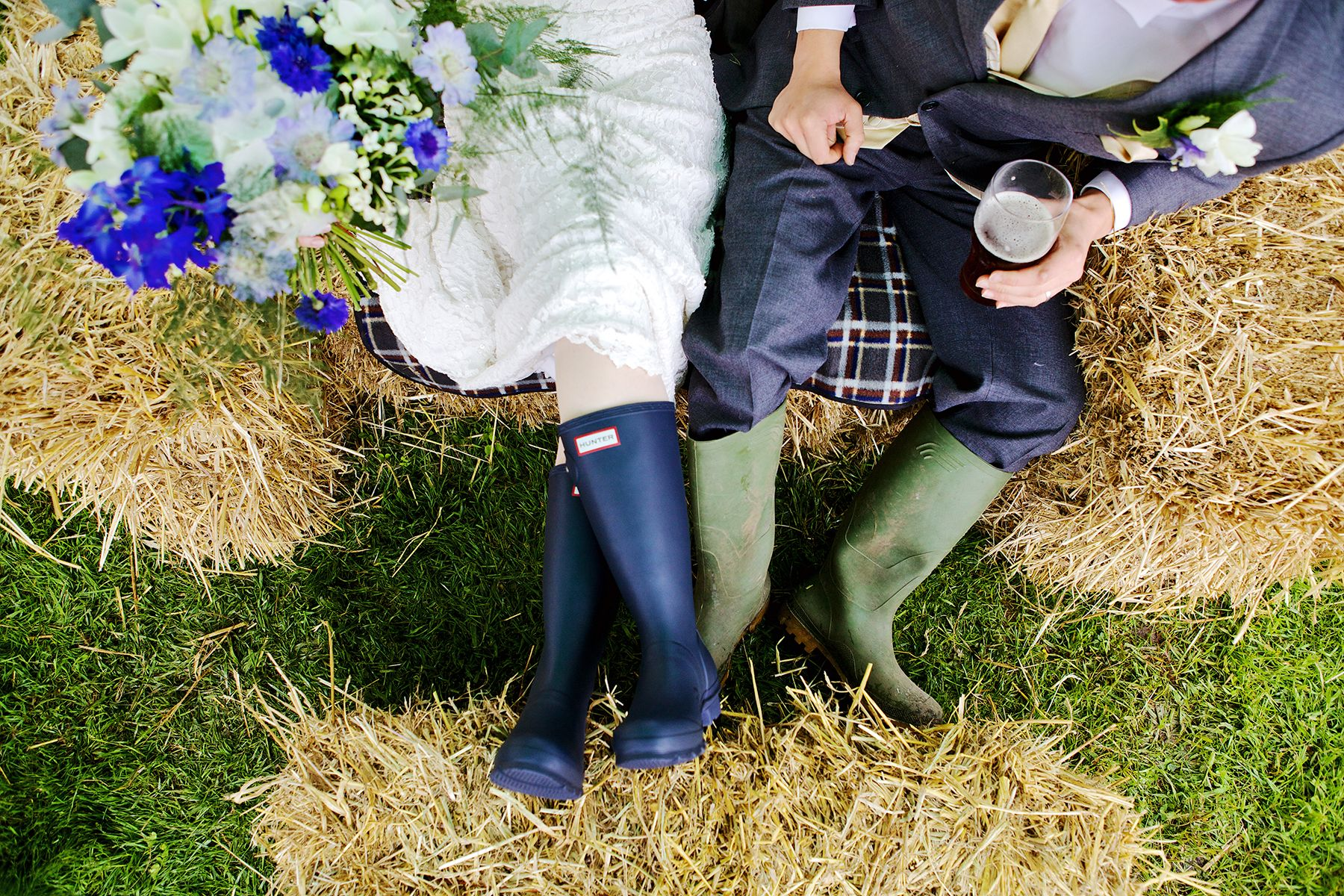 wedding couple wearing wellies in Devon