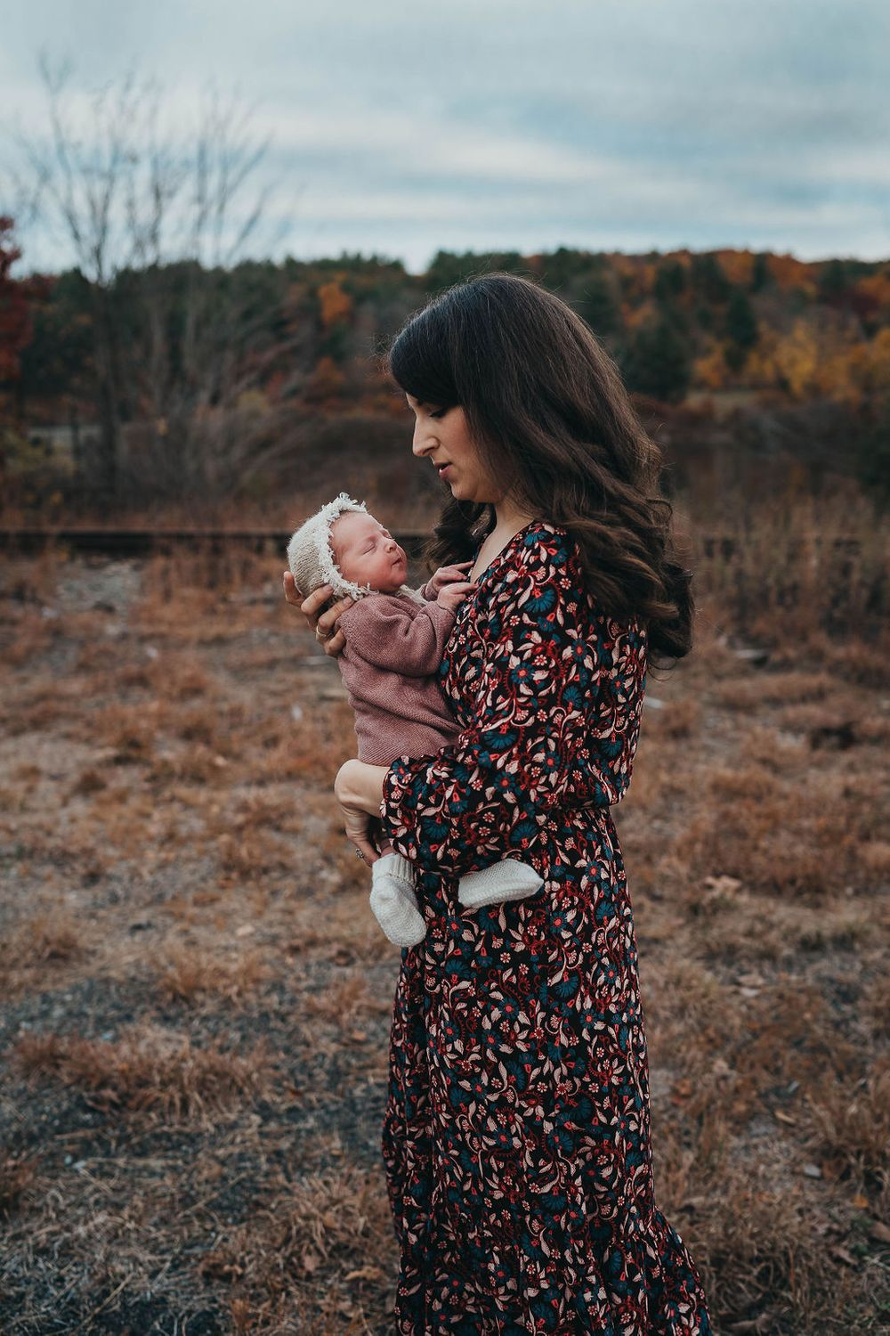 lovely image of mom and baby in outdoors in central massachusetts