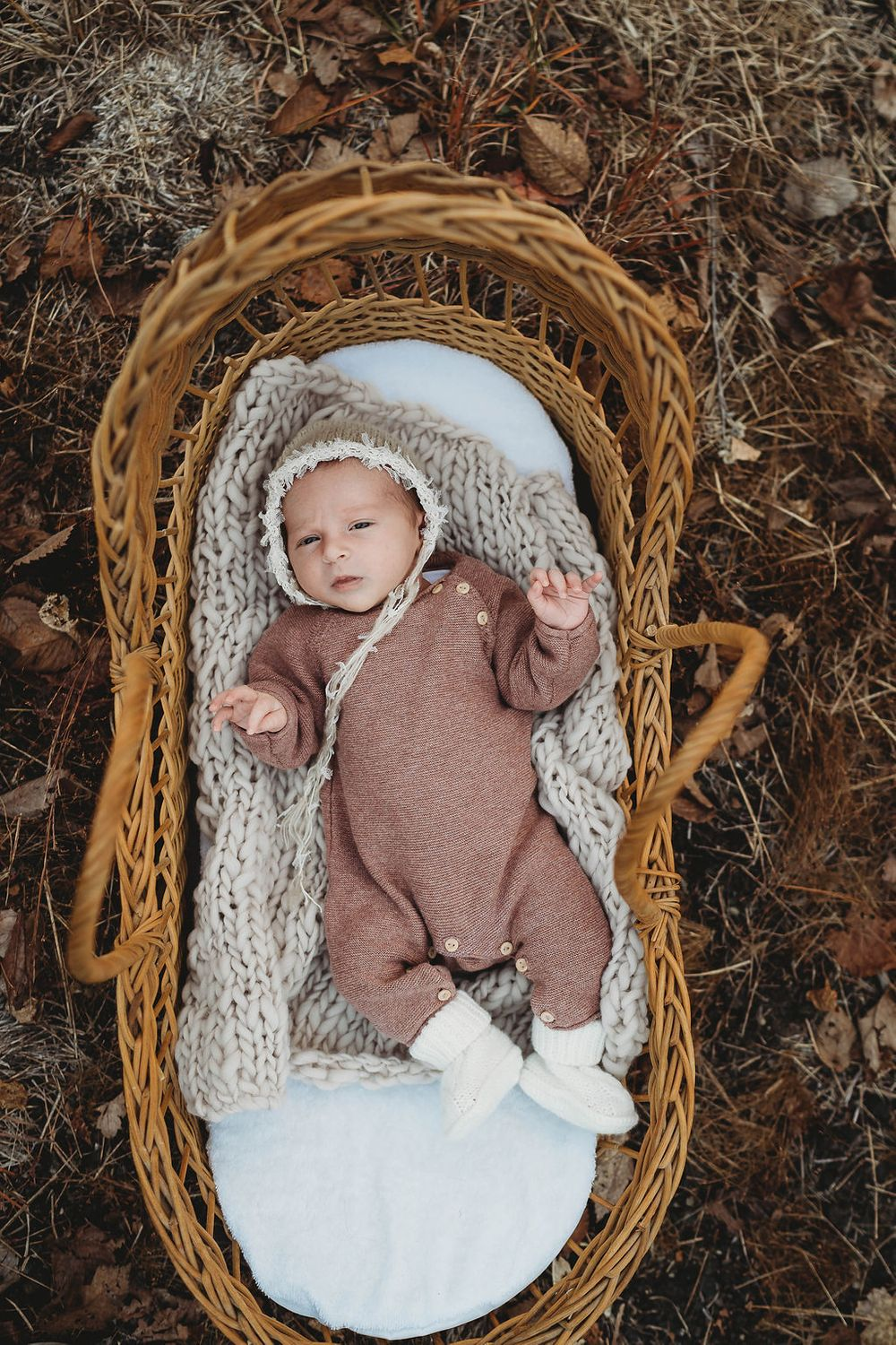 baby in an antique moses basket by boston newborn photographer
