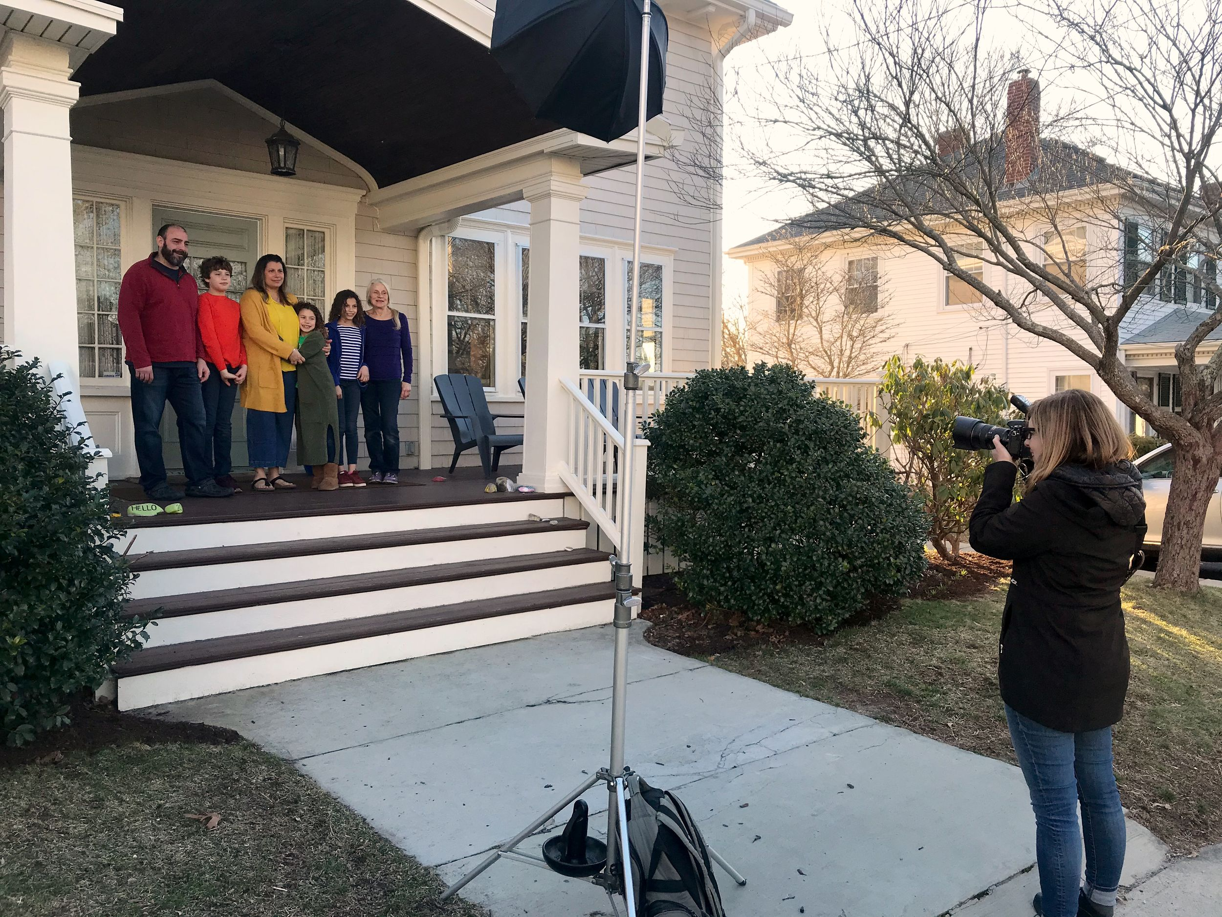 Behind the scenes of a Porch Portrait by heidi harting photography - plymouth, ma