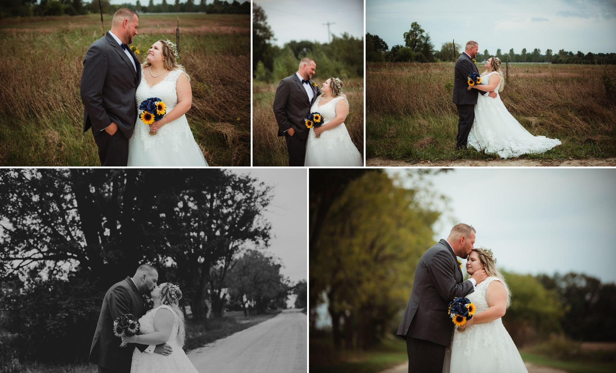 Collage of the bride and groom smiling at each other and kissing on a dirt road.