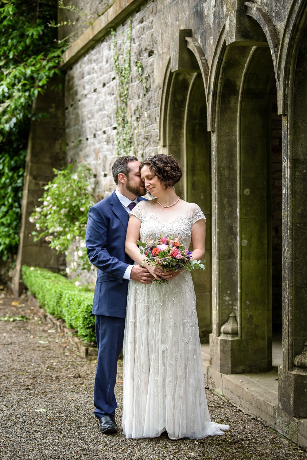 Bride and groom portrait at Wood Hall